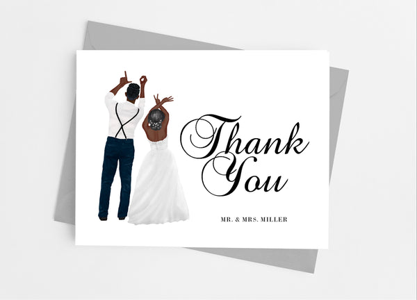 Wedding Couple Portrait Thank You Cards - Cathy's Creations - www.candywrappershop.com