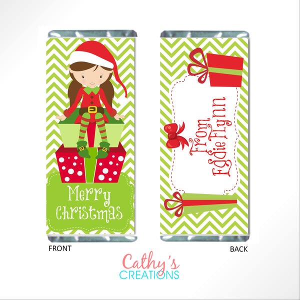 Christmas Elves Candy Bar Wrapper-Candy Bar Wrapper-Cathy's Creations - www.candywrappershop.com
