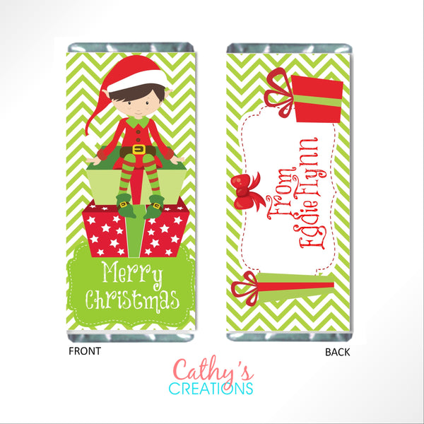 Christmas Elves Candy Bar Wrapper - Cathy's Creations - www.candywrappershop.com