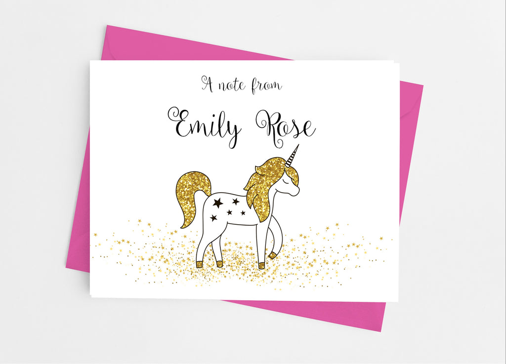 Gold Unicorn Note Cards - Cathy's Creations - www.candywrappershop.com