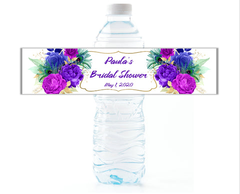 Peacock Floral Water Bottle Labels - Cathy's Creations - www.candywrappershop.com