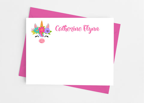Unicorn Face Flat Note Cards-Flat Stationery Cards-Cathy's Creations - www.candywrappershop.com