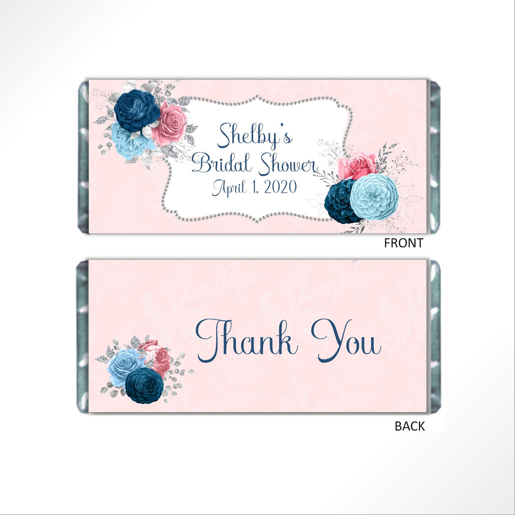 Pink and Blue Floral Candy Bar Wrapper - Cathy's Creations - www.candywrappershop.com