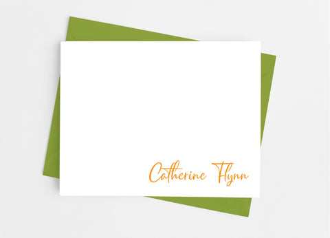 Personalized Stationery Flat Note Cards - Modern Signature - Cathy's Creations - www.candywrappershop.com