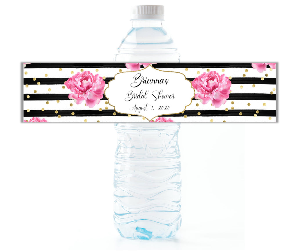 Pink Floral Water Bottle Labels - Cathy's Creations - www.candywrappershop.com