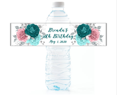 Blue and Pink Floral Water Bottle Labels - Cathy's Creations - www.candywrappershop.com