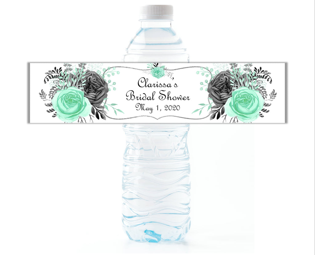 Mint and Grey Floral Water Bottle Labels - Cathy's Creations - www.candywrappershop.com