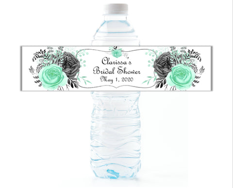 Mint and Grey Floral Water Bottle Labels-Water Bottle Labels-Cathy's Creations - www.candywrappershop.com