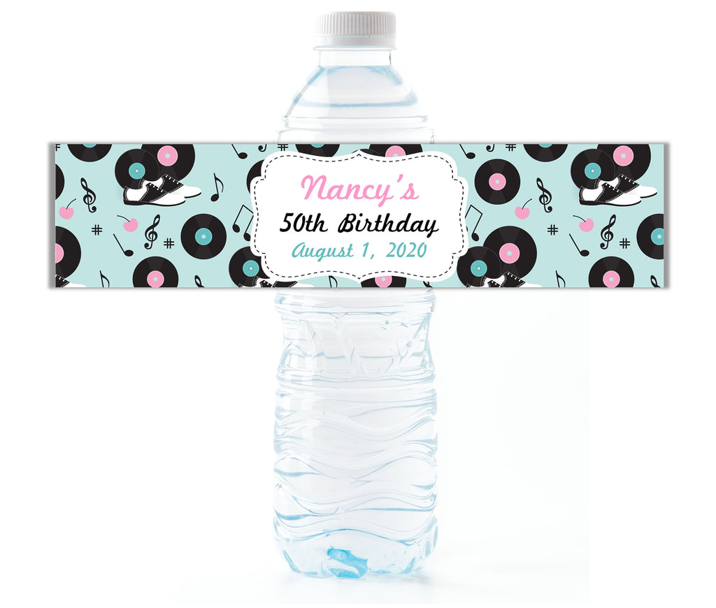 Retro 50's Party Water Bottle Labels - Cathy's Creations - www.candywrappershop.com