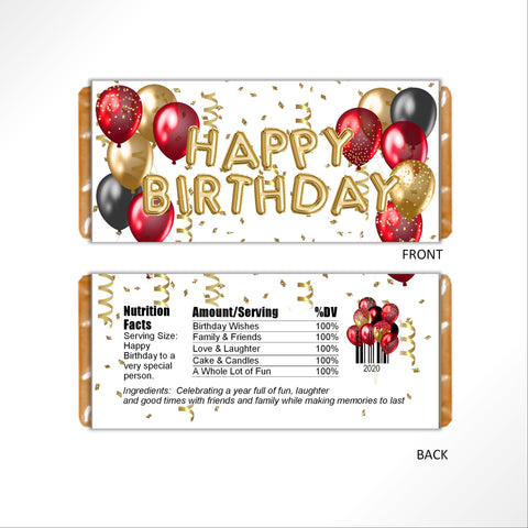Red and Gold Birthday Balloons Candy Bar Wrapper - Cathy's Creations - www.candywrappershop.com