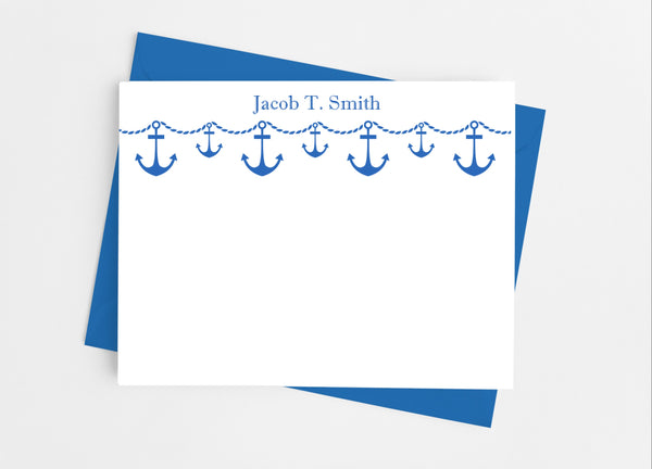 Anchor Banner Flat Note Cards-Flat Stationery Cards-Cathy's Creations - www.candywrappershop.com