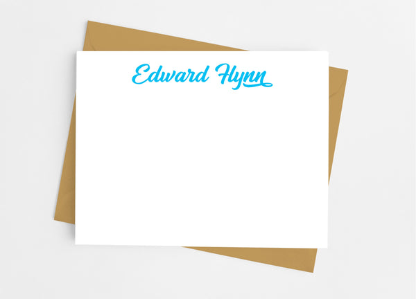 Personalized Stationery Flat Note Cards - Sports Script - Cathy's Creations - www.candywrappershop.com