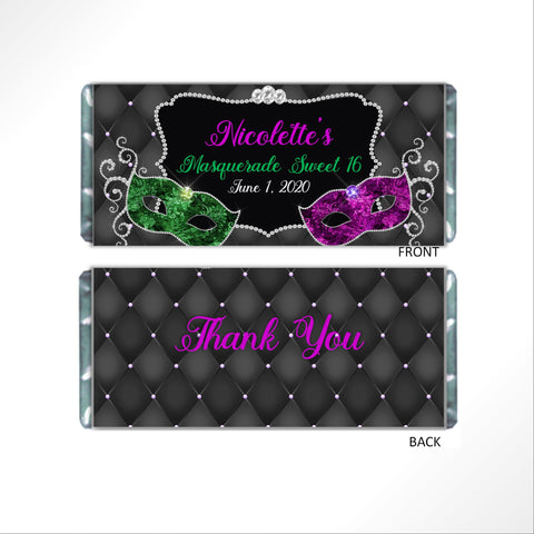 Masquerade Candy Bar Wrapper - Cathy's Creations - www.candywrappershop.com
