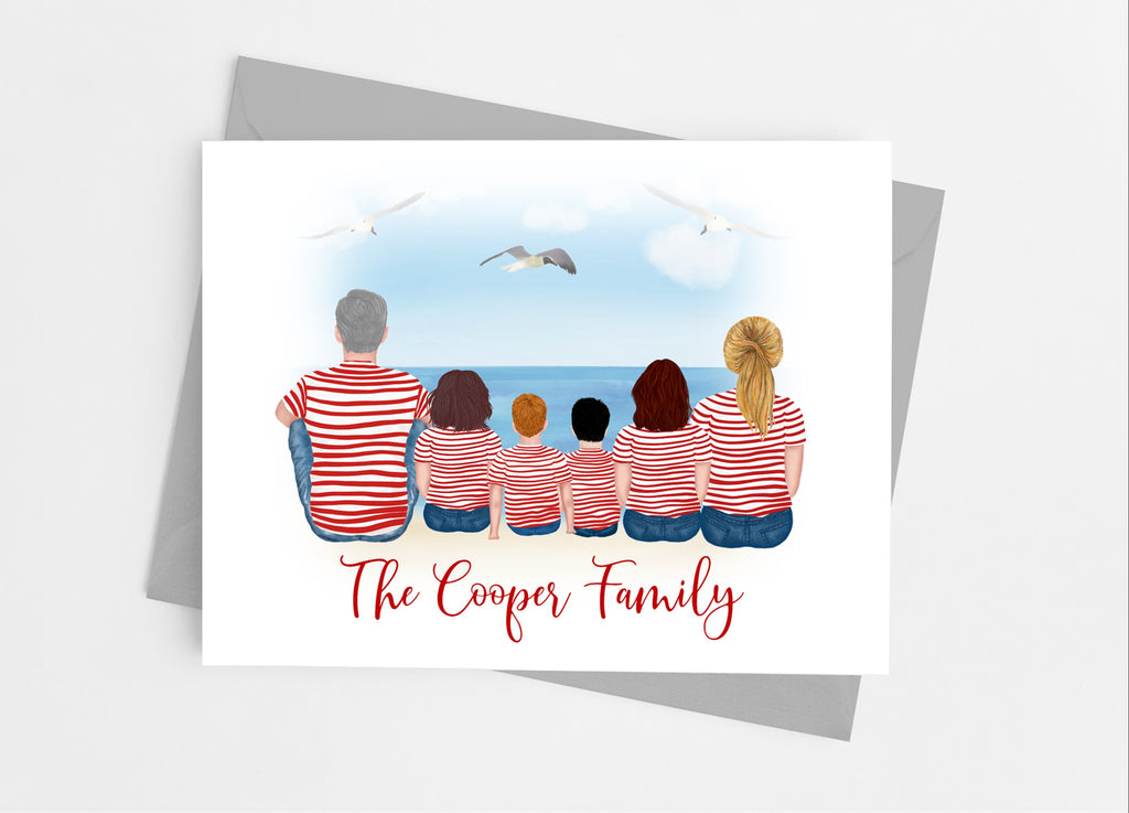 Stripe Family Portrait Note Cards - Cathy's Creations - www.candywrappershop.com