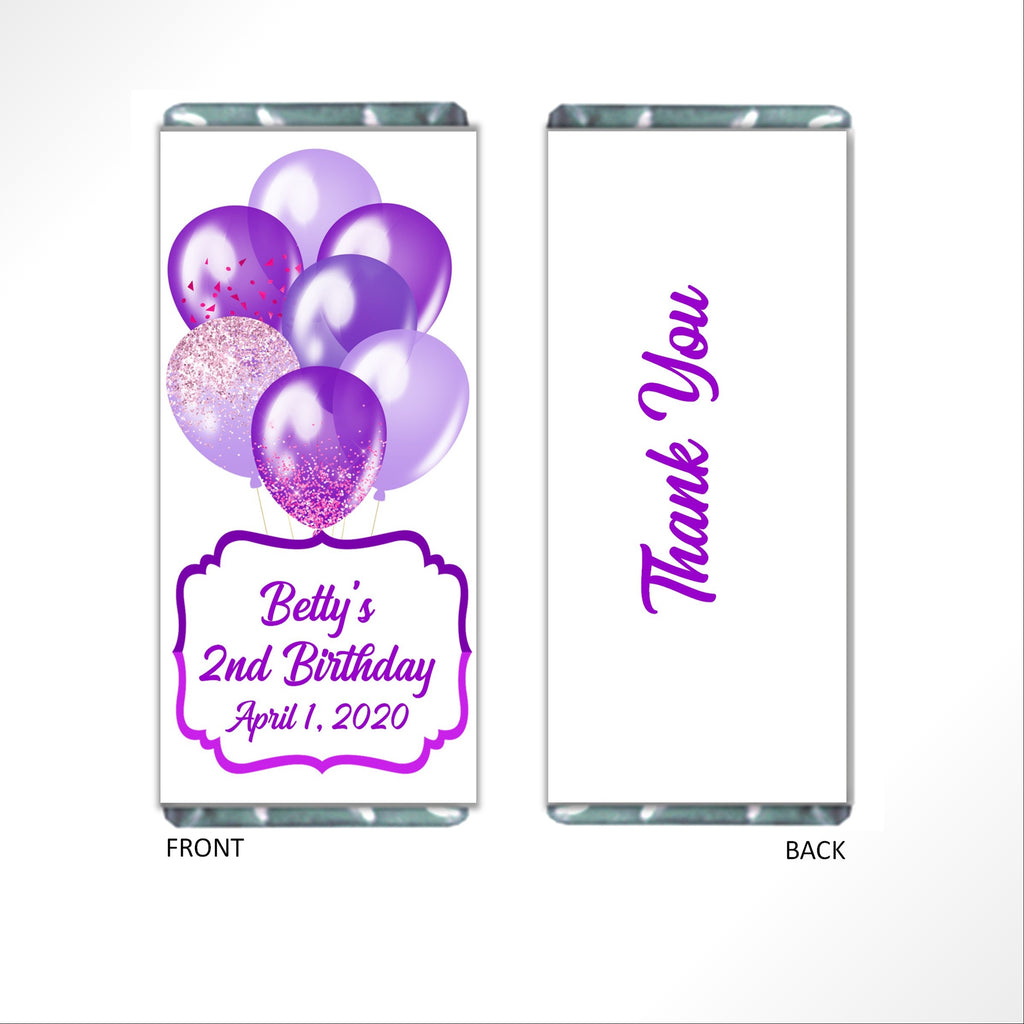 Purple Birthday Balloons Candy Bar Wrapper - Cathy's Creations - www.candywrappershop.com