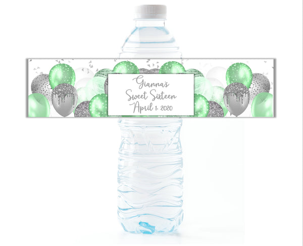 Balloon Background Water Bottle Labels-Water Bottle Labels-Cathy's Creations - www.candywrappershop.com