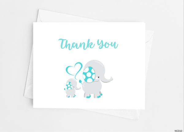 Elephant Baby Shower Thank You Cards Note Cards- Cathy's Creations - www.candywrappershop.com