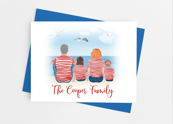 Stripe Family Portrait Note Cards-Note Cards-Cathy's Creations - www.candywrappershop.com