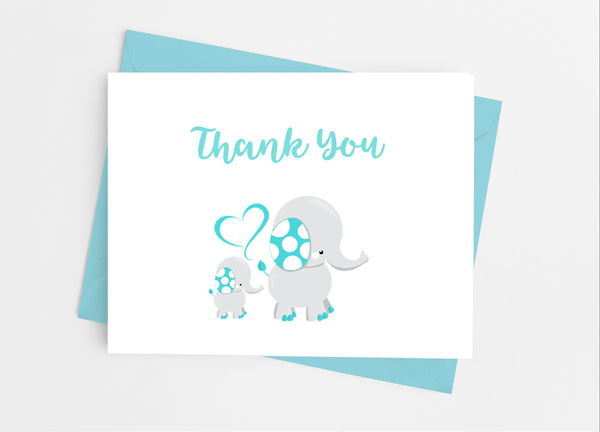 Elephant Baby Shower Thank You Cards - Cathy's Creations - www.candywrappershop.com