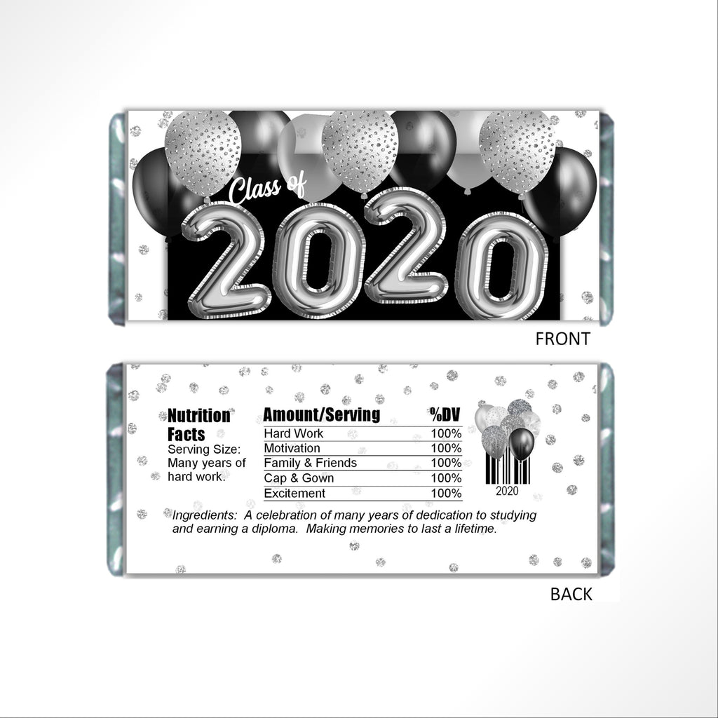 Silver Graduation Balloons Candy Bar Wrapper - Cathy's Creations - www.candywrappershop.com