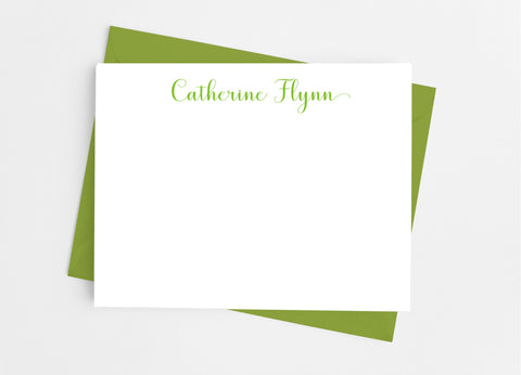 Personalized Stationery Flat Note Cards - Classic Script Flat Stationery Cards- Cathy's Creations - www.candywrappershop.com