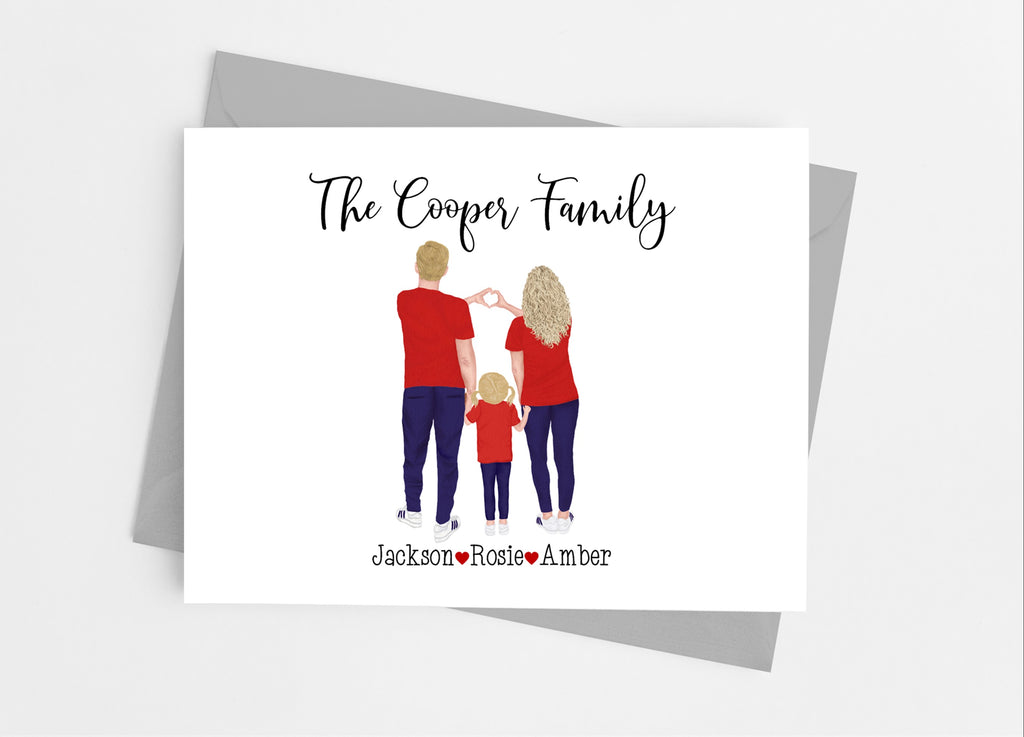Red Family Portrait Note Cards - Cathy's Creations - www.candywrappershop.com