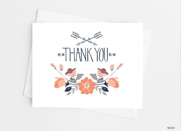Peach Floral Thank You Cards - Cathy's Creations - www.candywrappershop.com
