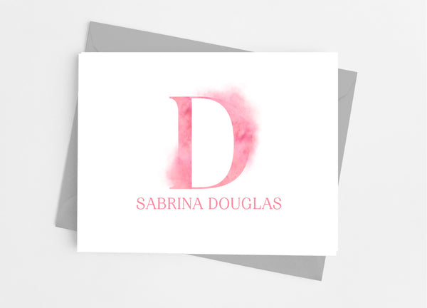 Pink Smudge Single Initial Monogram Note Cards - Cathy's Creations - www.candywrappershop.com