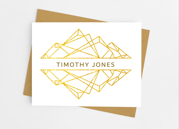 Geometric Gold Note Cards - Cathy's Creations - www.candywrappershop.com