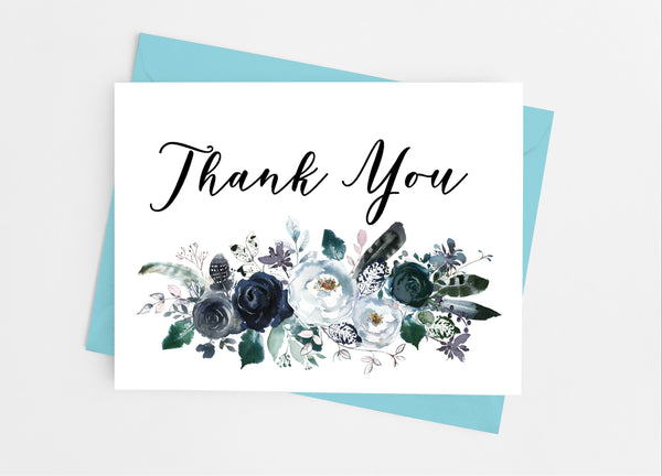 Navy Floral Note Cards - Cathy's Creations - www.candywrappershop.com