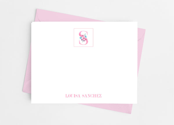 Pink Floral Single Initial Monogram Flat Note Cards - Cathy's Creations - www.candywrappershop.com