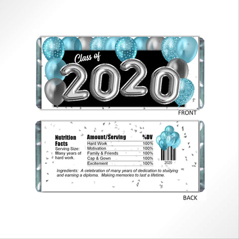 Aqua Graduation Balloons Candy Bar Wrapper - Cathy's Creations - www.candywrappershop.com