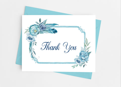 Blue Floral Thank You Cards-Note Cards-Cathy's Creations - www.candywrappershop.com