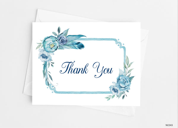 Blue Floral Thank You Cards - Cathy's Creations - www.candywrappershop.com