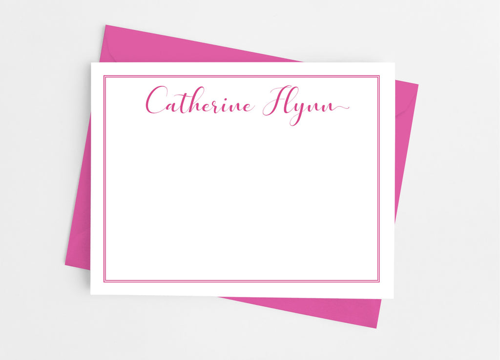 Personalized Stationery Flat Note Cards - Fancy Script-Flat Stationery Cards-Cathy's Creations - www.candywrappershop.com