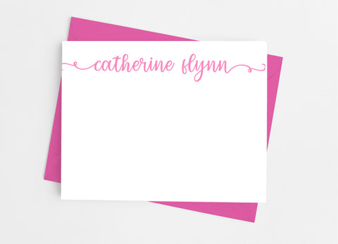 Personalized Stationery Flat Note Cards - Lowercase Flourish Flat Stationery Cards- Cathy's Creations - www.candywrappershop.com