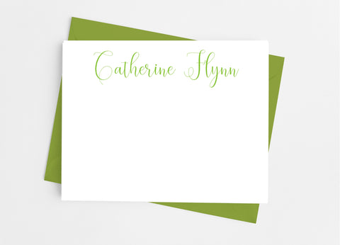 Personalized Stationery Flat Note Cards - Playful Script Flat Stationery Cards- Cathy's Creations - www.candywrappershop.com