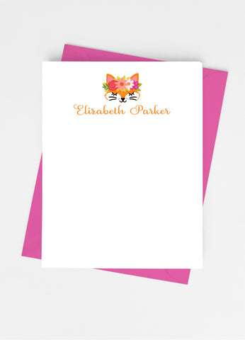 Fox Face Flat Note Cards-Flat Stationery Cards-Cathy's Creations - www.candywrappershop.com