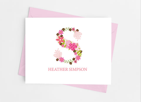 Pink Floral Single Initial Monogram Note Cards-Note Cards-Cathy's Creations - www.candywrappershop.com