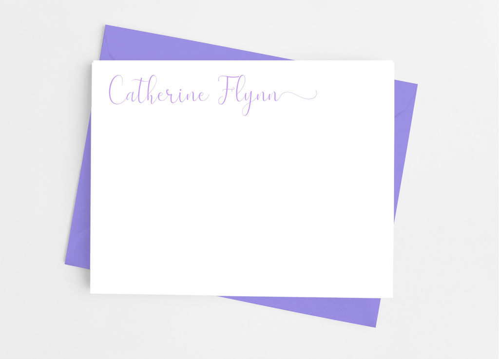 Personalized Stationery Flat Note Cards - Flourish Script - Cathy's Creations - www.candywrappershop.com