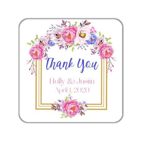 Pink Floral Favor Stickers OR Tags - Cathy's Creations - www.candywrappershop.com