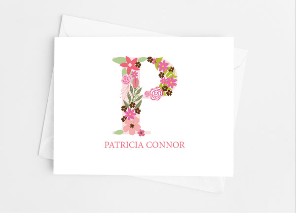 Pink Floral Single Initial Monogram Note Cards - Cathy's Creations - www.candywrappershop.com