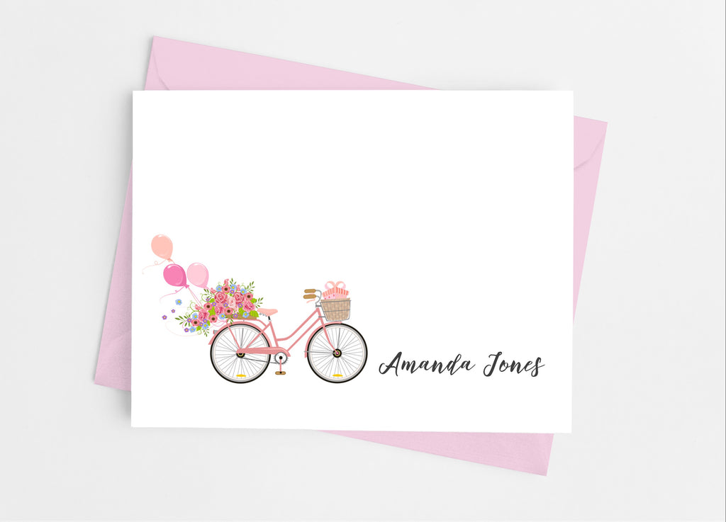 Floral Bicycle  Note Cards - Cathy's Creations - www.candywrappershop.com