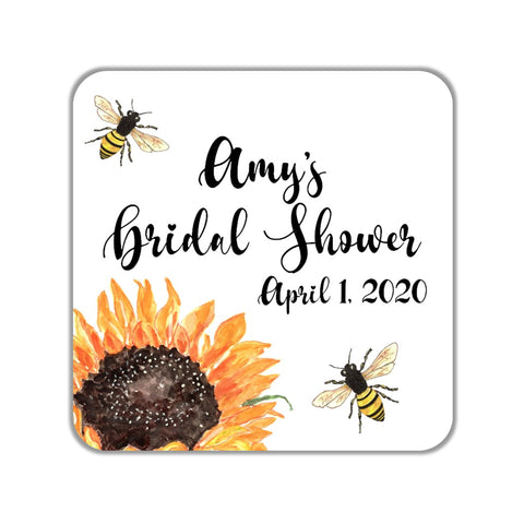Sunflower Bee Favor Stickers OR Tags - Cathy's Creations - www.candywrappershop.com