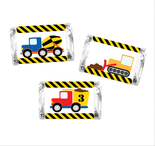 Construction Vehicles Mini Candy Wrappers - Cathy's Creations - www.candywrappershop.com