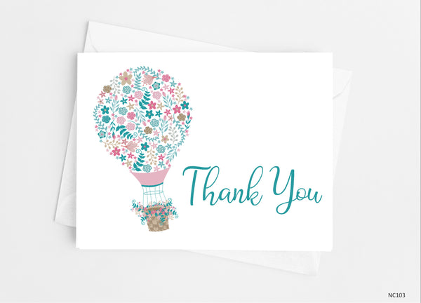 Hot Air Balloon Thank You Cards - Cathy's Creations - www.candywrappershop.com