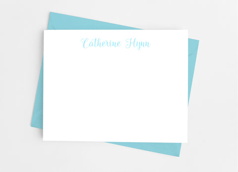 Personalized Stationery Flat Note Cards - Girly Script - Cathy's Creations - www.candywrappershop.com