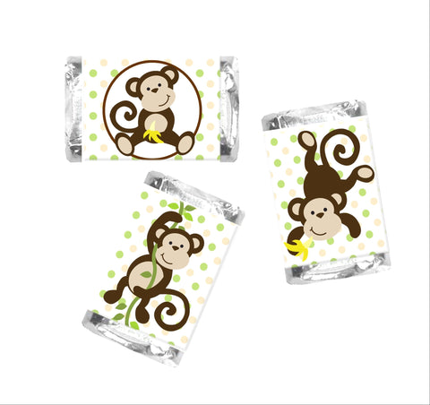 Monkey Mini Candy Bar Wrappers - Cathy's Creations - www.candywrappershop.com