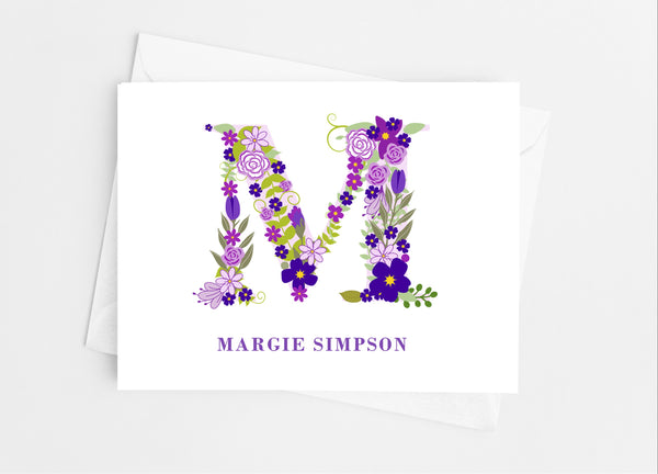 Purple Floral Single Initial Monogram Note Cards - Cathy's Creations - www.candywrappershop.com