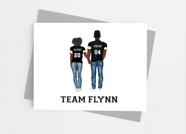 Football Couple Portrait Note Cards - Cathy's Creations - www.candywrappershop.com